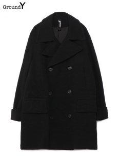 画像1: 【Ground Y  - グラウンドワイ】Vintage Flannel Big Pea Coat / Black (コート/ブラック)  (1)