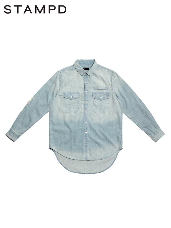 画像1: 50%OFF 【STAMPD - スタンプド】Repaired Denim Shirt / Indigo(デニムシャツ/インディゴ) (1)