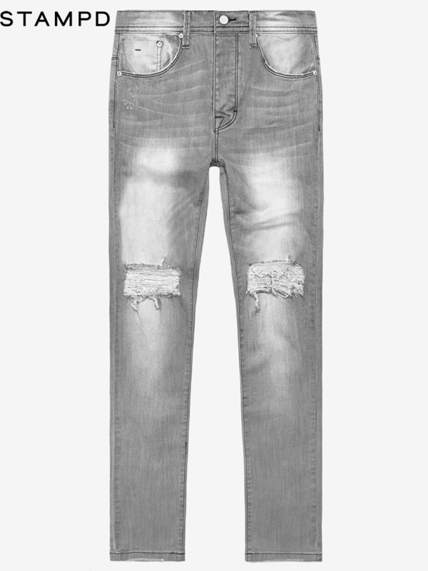 画像1: 50%OFF【STAMPD - スタンプド】ESSENTIAL KNEE SPLIT DENIM / Grey (デニム/グレー) (1)