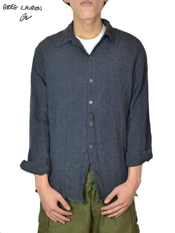 画像1: 【GREG LAUREN - グレッグローレン】 Graphite Collared Studio Shirt / Graphite Linen (シャツ/グラファイトリネン) (1)