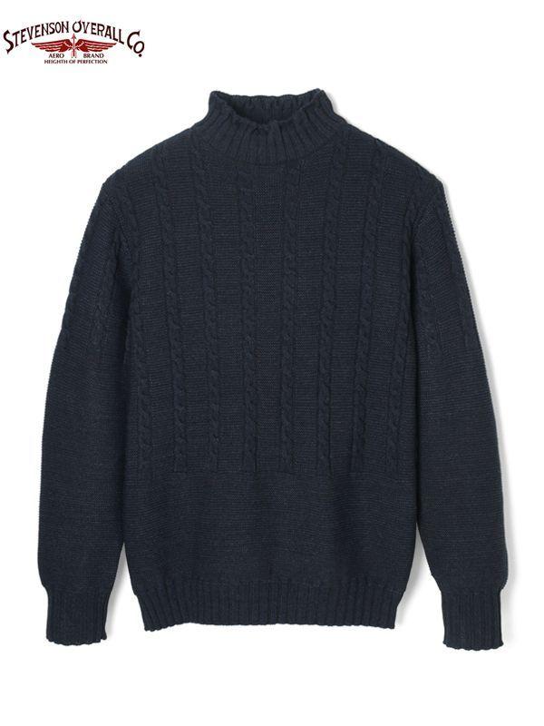 画像1: 20%OFF【STEVENSON OVERALL Co. - スティーブンソン オーバーオール】Indigo Gansey Sweater / Black Indigo(ハイネックセーター/ブラックインディゴ) (1)