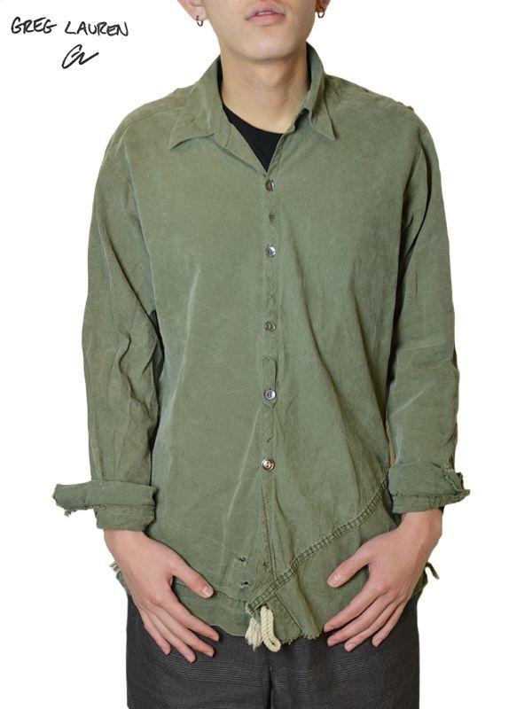 画像1: 【GREG LAUREN - グレッグローレン】 Collared Studio Shirt / Army Tent(シャツ/アーミーテント) (1)