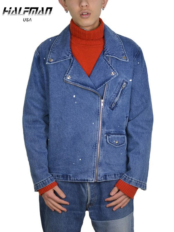 画像1: 【HALFMAN USA】Painted Denim Lace Up Jacket / INDIGO (デニムシャツ/インディゴ) (1)