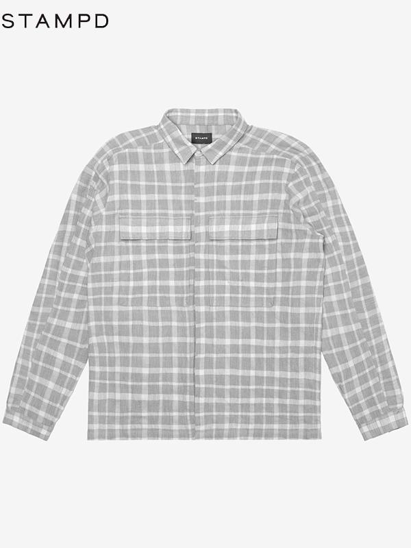 画像1: 50%OFF【STAMPD - スタンプド】LINEN POCKET PLAID SHIRT/Grey (チェックシャツ/グレー) (1)