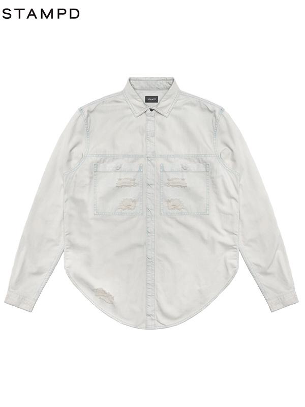 画像1: 【STAMPD - スタンプド】Against Denim Shirt/WHITE(デニムシャツ/ホワイト) (1)