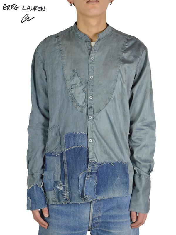 画像1: 30%OFF【GREG LAUREN - グレッグローレン】RAIN SOAKED LINEN/DRESSY STUDIO W/PATCHWORK AND DESTROYED PIQUE BIB/ BLUE(シャツ/ブルー) (1)