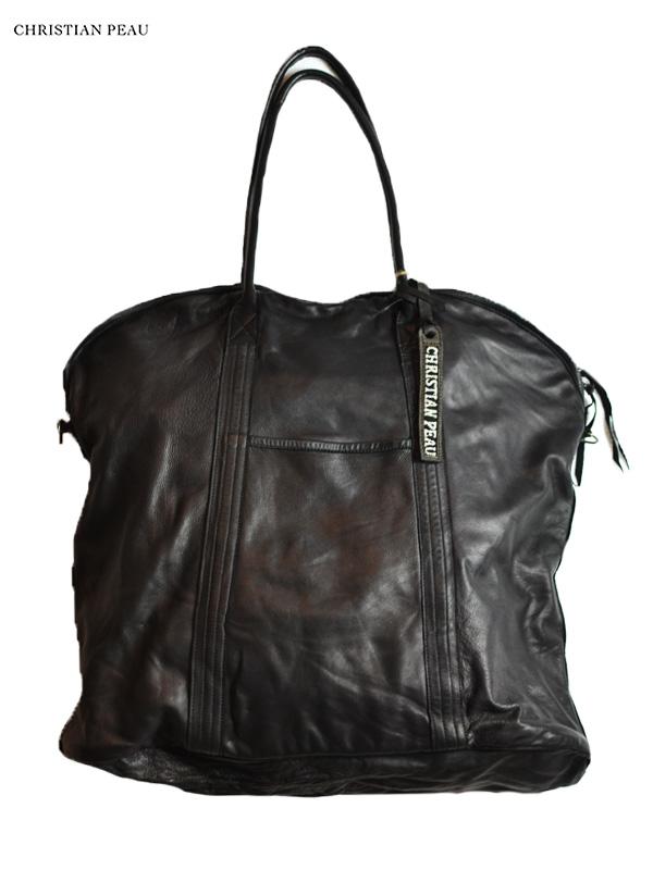 """画像1: 【Christian Peau - クリスチャンポー】CP DUFFLE BAG """"CALF"""" / Black(レザーバッグ/ブラック) (1)"""
