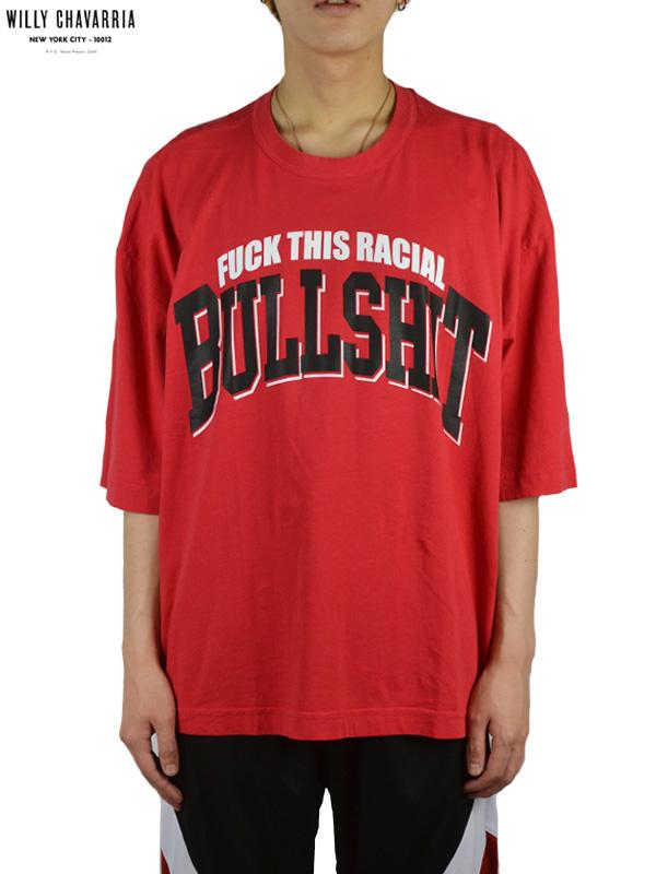 画像1: 50%OFF【WILLY CHAVARRIA - ウィリーキャバリア】SS BUFFALO T / FUCK THIS RACIAL BULLSHIT / CHERRY RED(Tシャツ/チェリーレッド) (1)