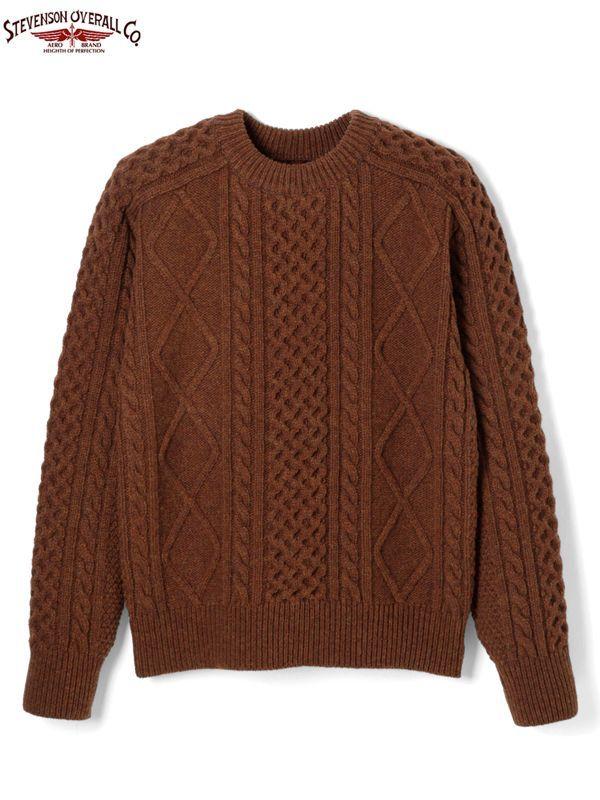 画像1: 30%OFF【STEVENSON OVERALL Co. - スティーブンソン オーバーオール】Cable Aran Sweater - CA / Brown (ブラウン/アランセーター) (1)