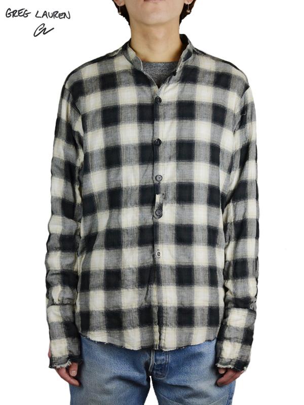 画像1: 【GREG LAUREN - グレッグローレン】Yarn Dyed Buffalo Check Studio Shirt / Black/White (シャツ/ブラック/ホワイト) (1)