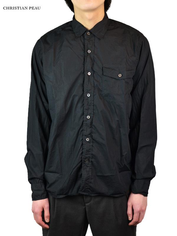 画像1: 【Christian Peau - クリスチャンポー】CP SHIRT 1P L/S with Bag / Black(シャツ/ブラック) (1)