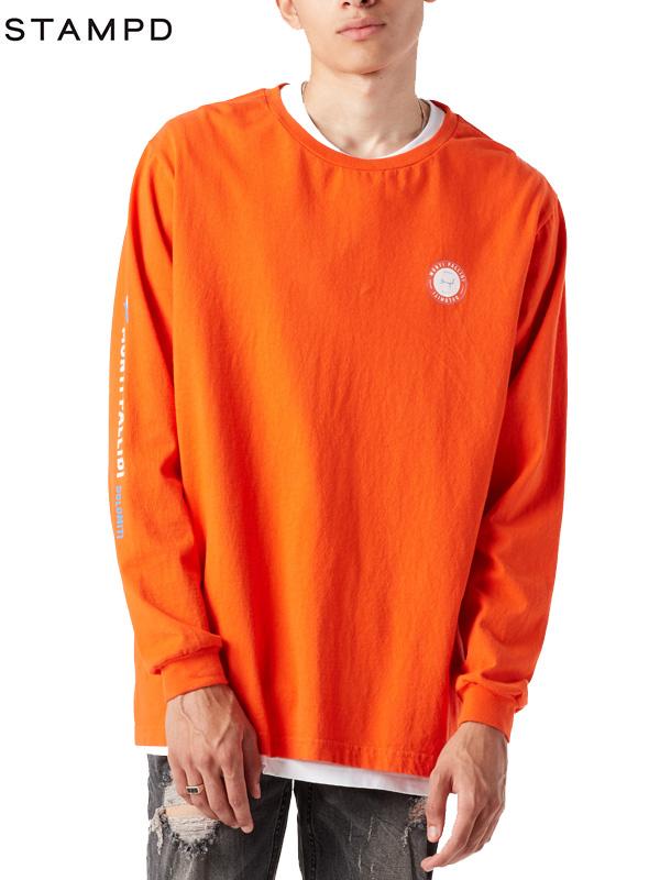 画像1: 40%OFF【STAMPD - スタンプド】MONTI LONG SLEEVE TEE / HAZARD ORANGE (L/S Tシャツ/ハザードオレンジ) (1)