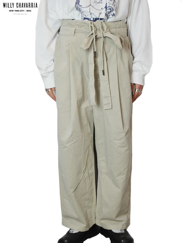 画像1: 30%OFF【WILLY CHAVARRIA - ウィリーキャバリア】CHUCO CHINO WIDE/CEMENTO PAPER CLOTH(パンツ/カーキ) (1)