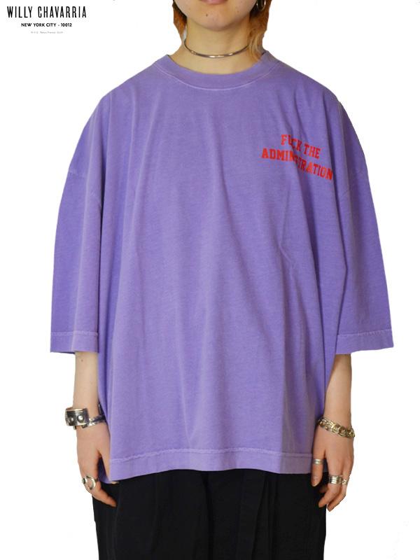 """画像1: 30%OFF【WILLY CHAVARRIA - ウィリーキャバリア】CREW NECK BUFFALO T """"FUCK THE ADMINISTRATION""""/LAVENDER(Tシャツ/ラベンダー) (1)"""