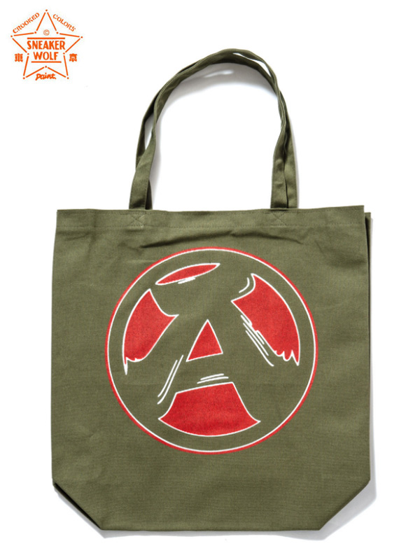 "画像1: 【The Wolf In Sheep's Clothing】""A"" Tote Bag / Olive(トートバッグ/オリーブ) (1)"
