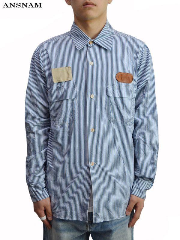 画像1: 20%OFF【ANSNAM - アンスナム】Work Shirt / Blue stripe(シャツ/ブルーストライプ) (1)