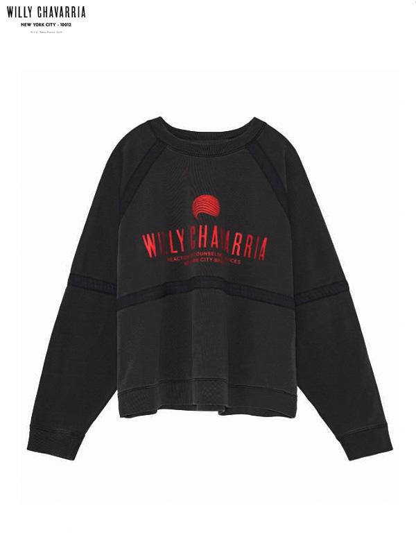画像1: 20%OFF【WILLY CHAVARRIA - ウィリーキャバリア】BATTERY TRACK SWEATSHIRT  / WASHED PIRATE BLACK(Tシャツ/パイレートブラック) (1)