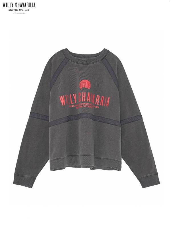 画像1: 20%OFF【WILLY CHAVARRIA - ウィリーキャバリア】BATTERY TRACK SWEATSHIRT  / CHARCOAL(Tシャツ/チャコール) (1)