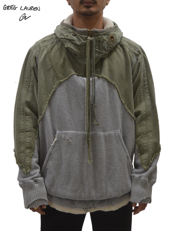 画像1: 50%OFF【GREG LAUREN - グレッグローレン】Army Tent / Grey Fleece High Tech Zip Neck Hoodie / Army×Grey (パーカー/カーキ×グレー) (1)