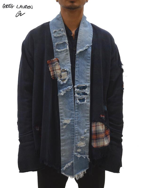 画像1: 50%OFF【GREG LAUREN - グレッグローレン】Venice Night / Vintage Denim Stripe Kimono Studio / Black×Denim Blue (キモノ/ブラック) (1)