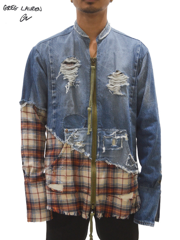 画像1: 【GREG LAUREN - グレッグローレン】Vintage Denim / Rodeo Zip Front Studio Shirt / Orange×Beige×Blue Denim (スタジオシャツ/チェック×デニム) (1)