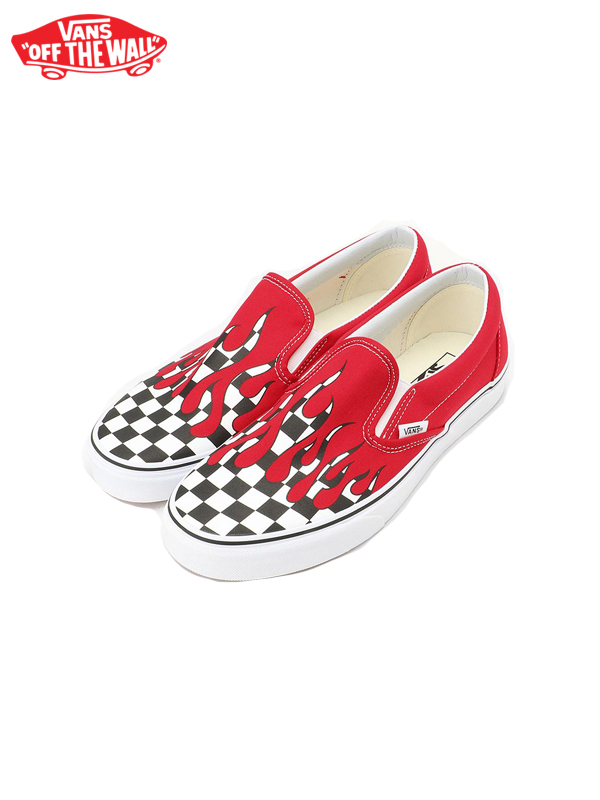 画像1: 【VANS - ヴァンズ】UA CLSIC SLIP-ON / (CHECKER FLAME) RACING RED/TRUE WHITE (スニーカー/レッド) (1)