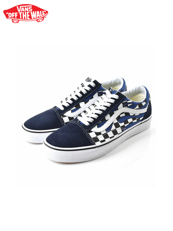 画像1: 【VANS - ヴァンズ】UA OLD SKOOL / (CHECKER FLAME) NAVY/TRUE WHITE (スニーカー/ネイビー) (1)