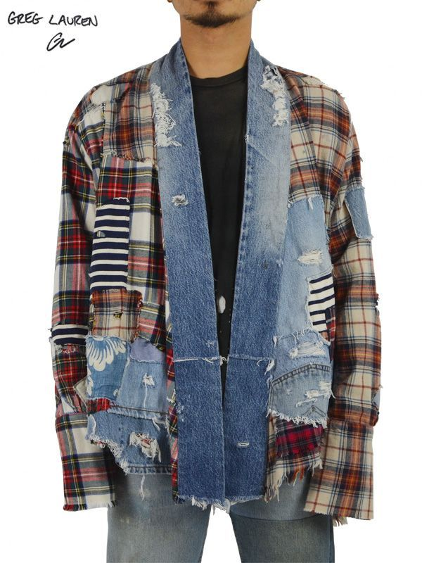 画像1: 【GREG LAUREN - グレッグローレン】Patchwork Plaid / Vintage Denim Stripe Kimono Studio / RED×GREEN×DENIM BLUE×ORANGE×BEIGE (キモノ/レッド/グリーン/ブルー/オレンジ/ベージュ) (1)