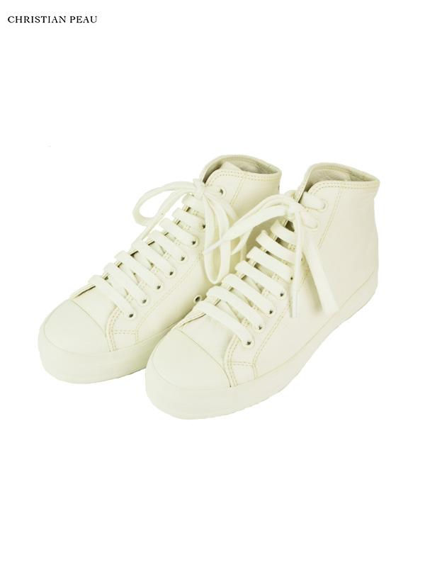 画像1: 【Christian Peau - クリスチャンポー】High Top Sneaker / Cow Leather / White(スニーカー/ホワイト) (1)