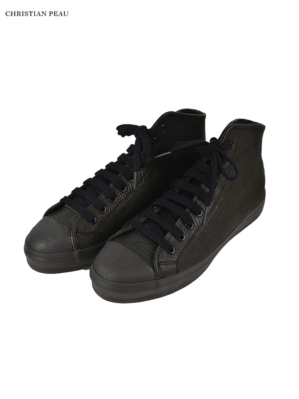 画像1: 20%OFF【Christian Peau - クリスチャンポー】High Top Sneaker / Lizard / Black(スニーカー/リザードブラック) (1)
