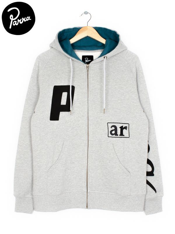 """画像1: 【by Parra - バイ パラ】Hooded Vest """"script box logo"""" / Grey(ジップパーカー/グレー)  (1)"""