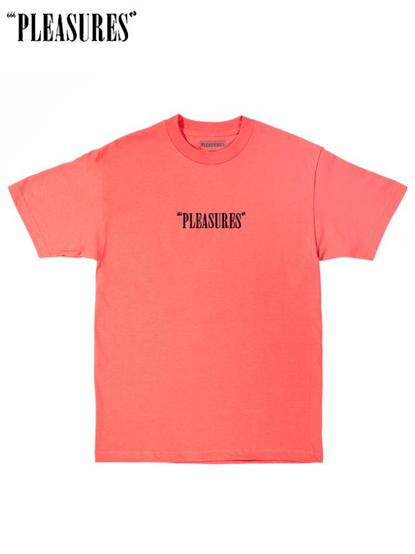画像1: 【PLEASURES - プレジャーズ】CORE LOGO EMBROIDERED T-SHIRT /Coral(Tシャツ/コーラル) (1)