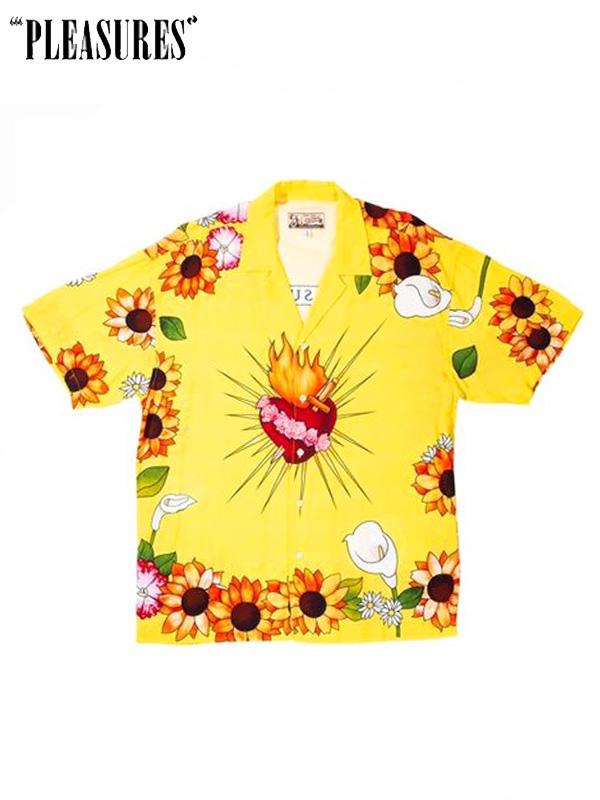 画像1: 【PLEASURES - プレジャーズ】GANGSTER SHORT SLEEVE BUTTON UP/ Yellow(シャツ/イエロー) (1)