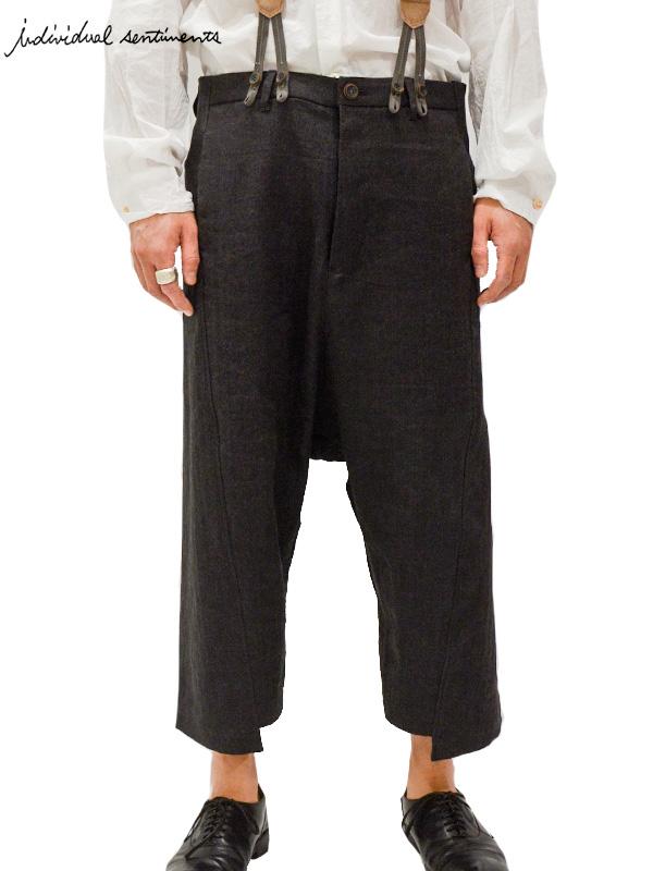 画像1: 30%OFF【individual sentiments - インディヴィジュアル センチメンツ】Cropped trousers / Black(クロップドトラウザー/ブラック/ヘリンボーン) (1)