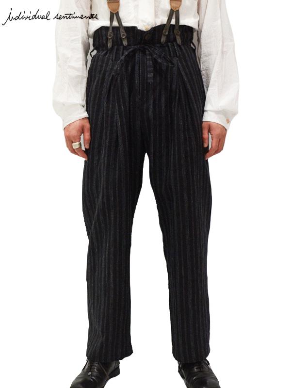 画像1: 【individual sentiments - インディヴィジュアル センチメンツ】Wide stripe trousers / Black(クロップドトラウザー/ブラック/ストライプ) (1)