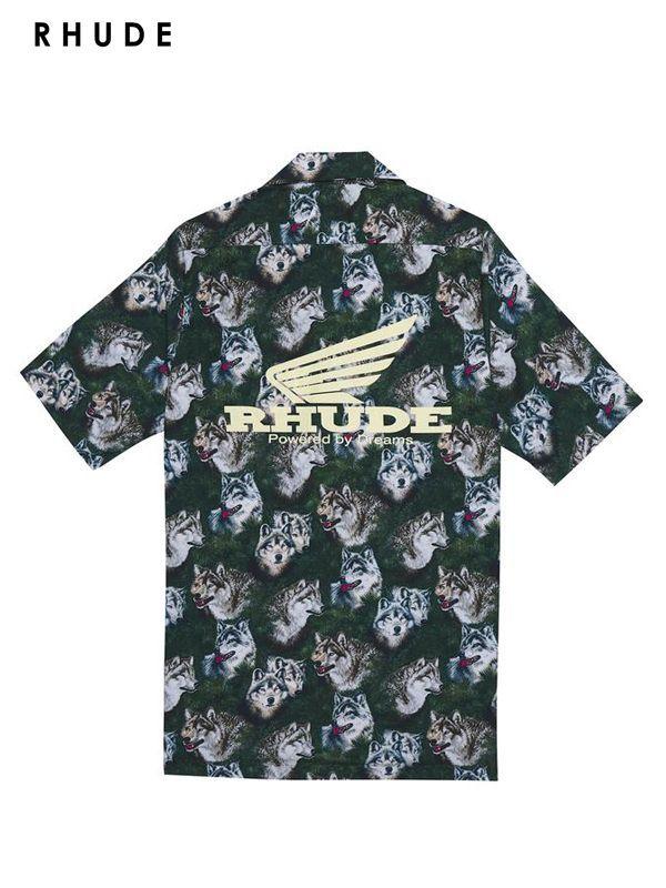 """画像1: 30%OFF【RHUDE - ルード】Truck Stop """"Wolf In The Pines"""" S/S Shirt /Wolf(シャツ/ウルフ) (1)"""