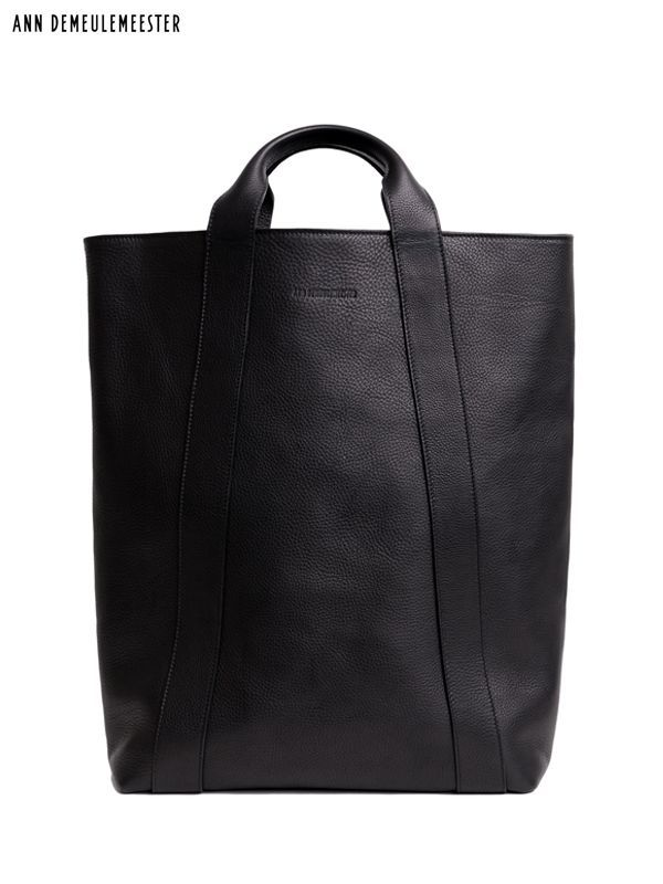 画像1: 【ANN DEMEULEMEESTER - アン ドゥムルメステール】TOTE ANDRAS BLACK / calfskin leather(レザーバッグ/ブラック) (1)