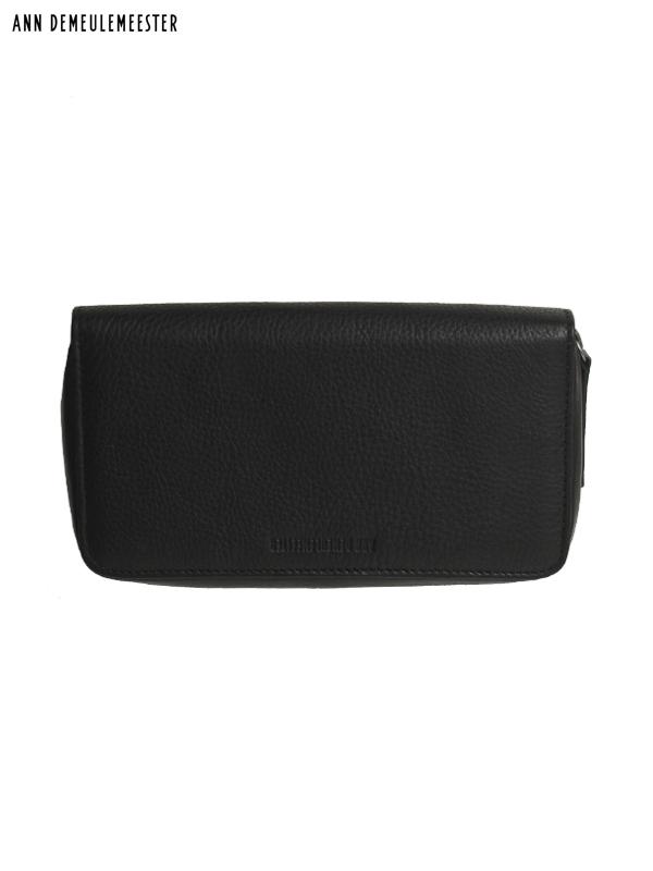 """画像1: 【ANN DEMEULEMEESTER - アン ドゥムルメステール】BLACK ZIP AROUND WALLET """"ANDRAS"""" / Calfskin leather(ウォレット/ブラック) (1)"""