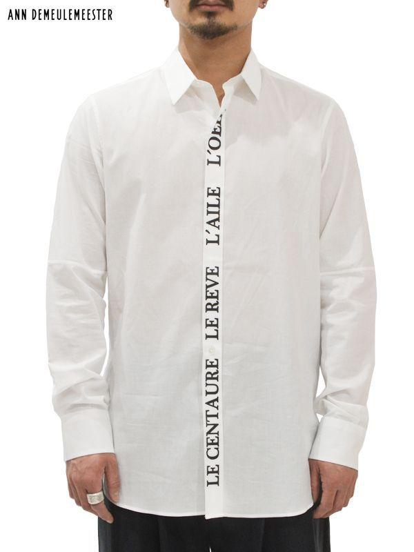 """画像1: 30%OFF【ANN DEMEULEMEESTER - アン ドゥムルメステール】SHIRT COTONE BLANC CASSE + PRINT """"L'OEIL STRIPE"""" / White(シャツ/ホワイト)  (1)"""