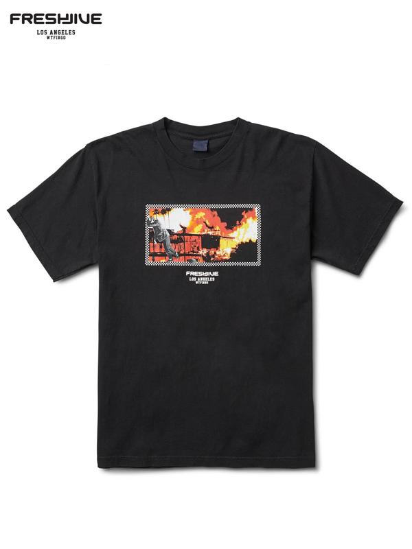 画像1: 20%OFF【FRESHJIVE - フレッシュジャイブ】L.A. ON FIRE TEE / BLACK (Tシャツ/ブラック) (1)