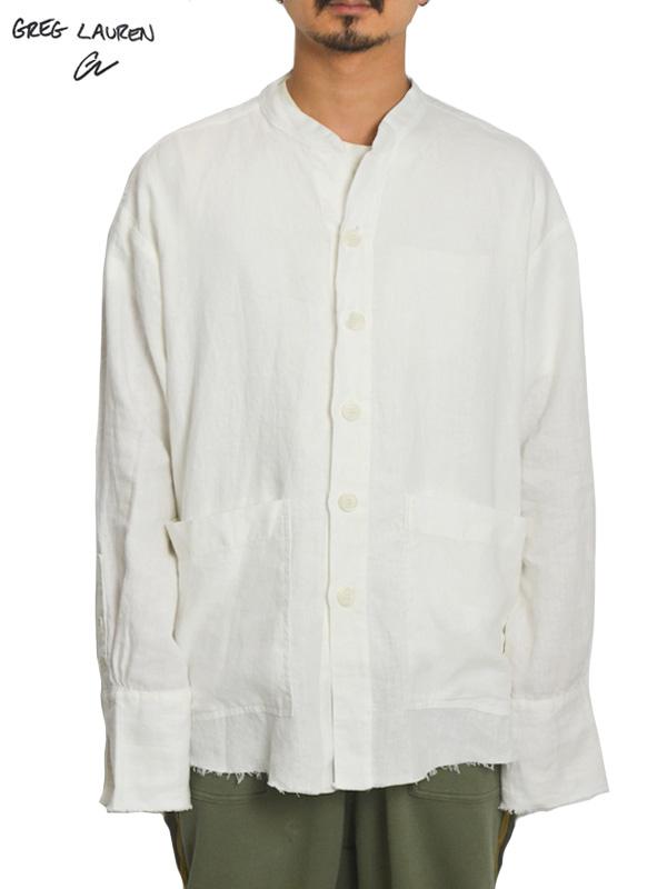 画像1: 【GREG LAUREN - グレッグローレン】Linen Studio Shirt / White Linen (シャツ/リネン) (1)