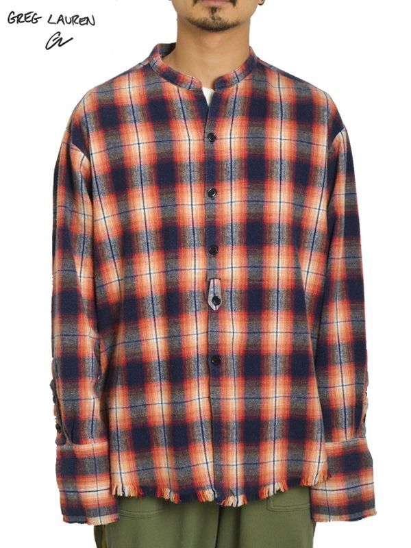画像1: 10%OFF【GREG LAUREN - グレッグローレン】Orange Plaid Studio Shirt / Flannel (シャツ/オレンジ) (1)