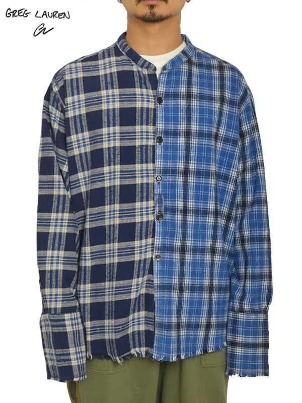 画像1: 30%OFF【GREG LAUREN - グレッグローレン】Mix Blue Plaid Studio Shirt / Flannel (シャツ/ブルー) (1)