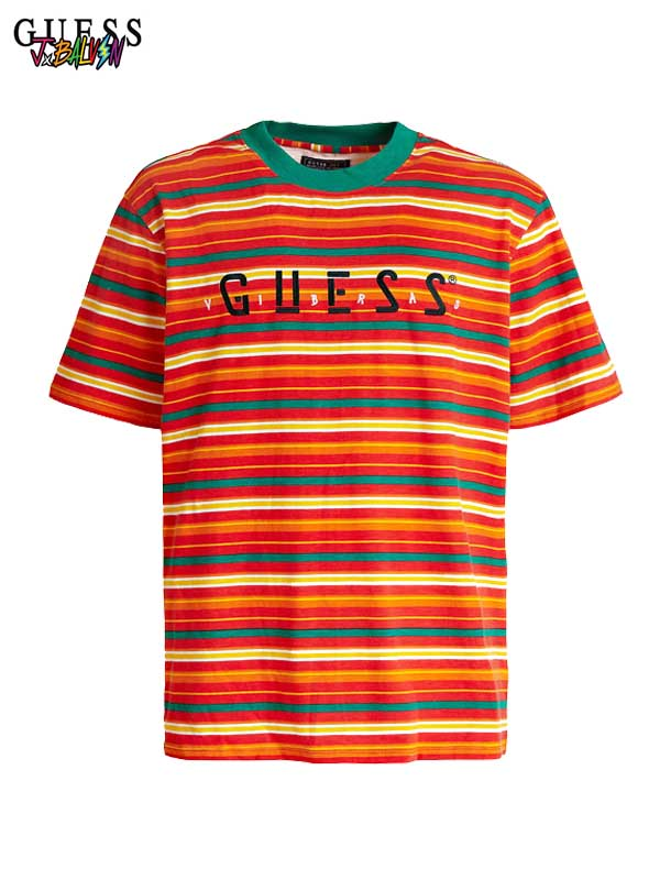 画像1: 【GUESS GREEN LABEL × J BALVIN】Guess Border Tee/ Red(Tシャツ/レッド) (1)