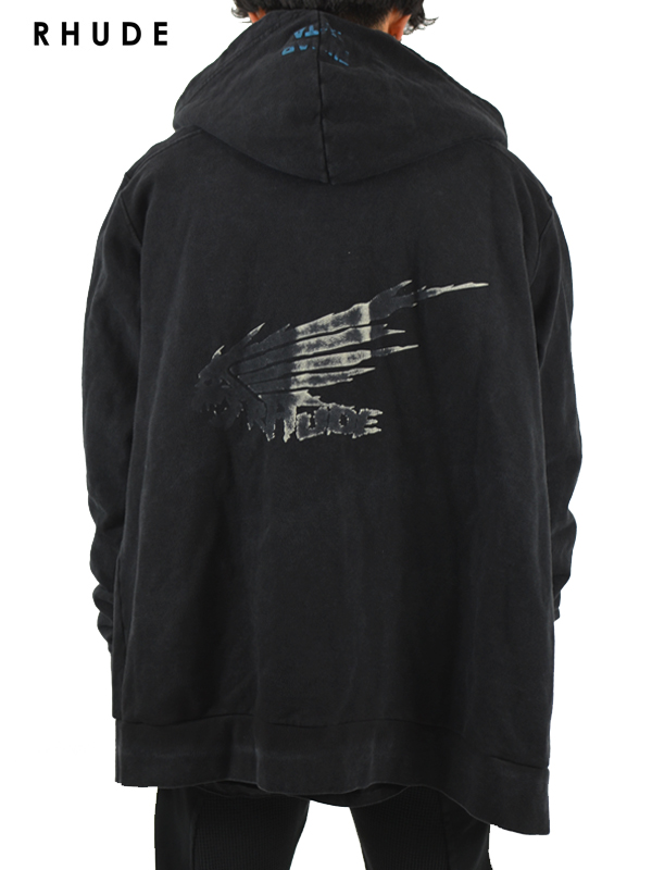 画像1: 30%OFF【RHUDE - ルード】Dragon White Hoodie w/ Zip /Black(パーカー/ブラック) (1)
