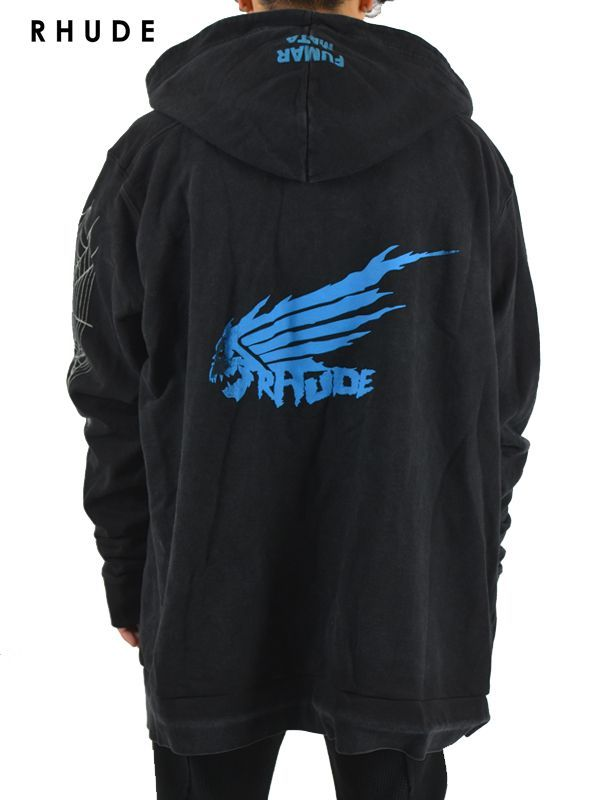 画像1: 30%OFF【RHUDE - ルード】Dragon Hoodie W/ Zip Blue / Black(パーカー/ブラック) (1)