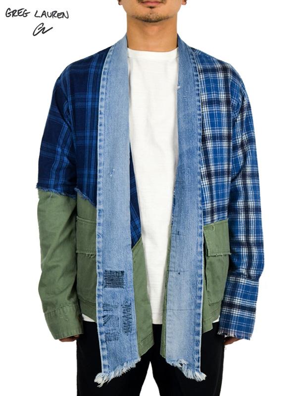 画像1: 【GREG LAUREN - グレッグローレン】50/50 Mixed Blue Plaid / Army Kimono  (スタジオシャツ/ブルー/アーミー) (1)