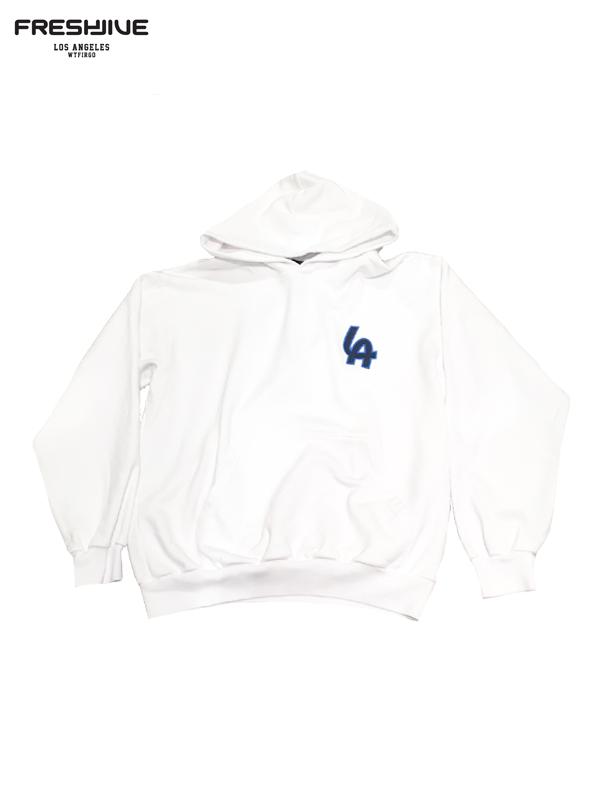画像1: 20%OFF【FRESHJIVE - フレッシュジャイブ】L.A Emblem Hood / White(パーカー/ホワイト) (1)