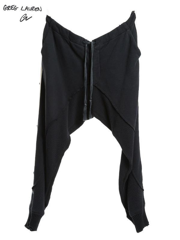 画像1: 【GREG LAUREN - グレッグローレン】50/50 Black Pant With White Stripe (クロップドパンツ/ブラック) (1)