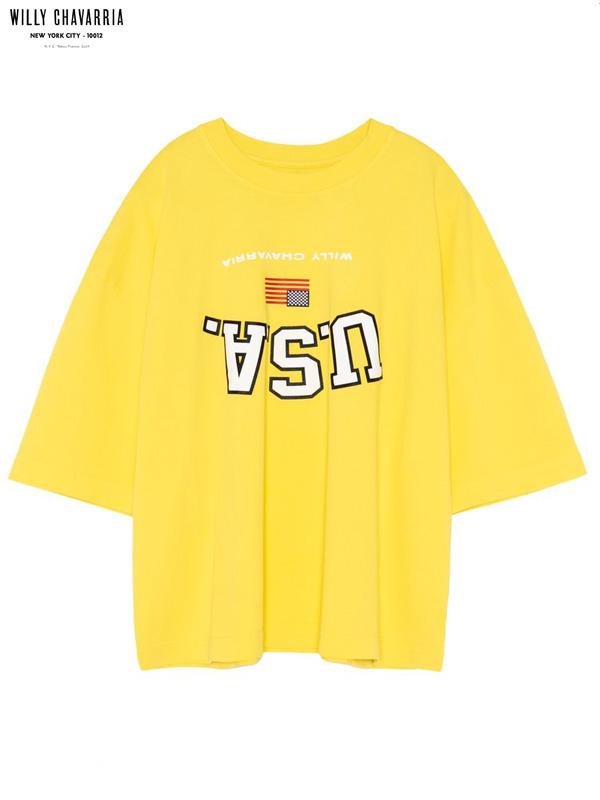 画像1: 20%OFF【WILLY CHAVARRIA - ウィリーキャバリア】UPSIDE DOWN USA BUFFALO T / YELLOW FEVER(Tシャツ/イエロー) (1)